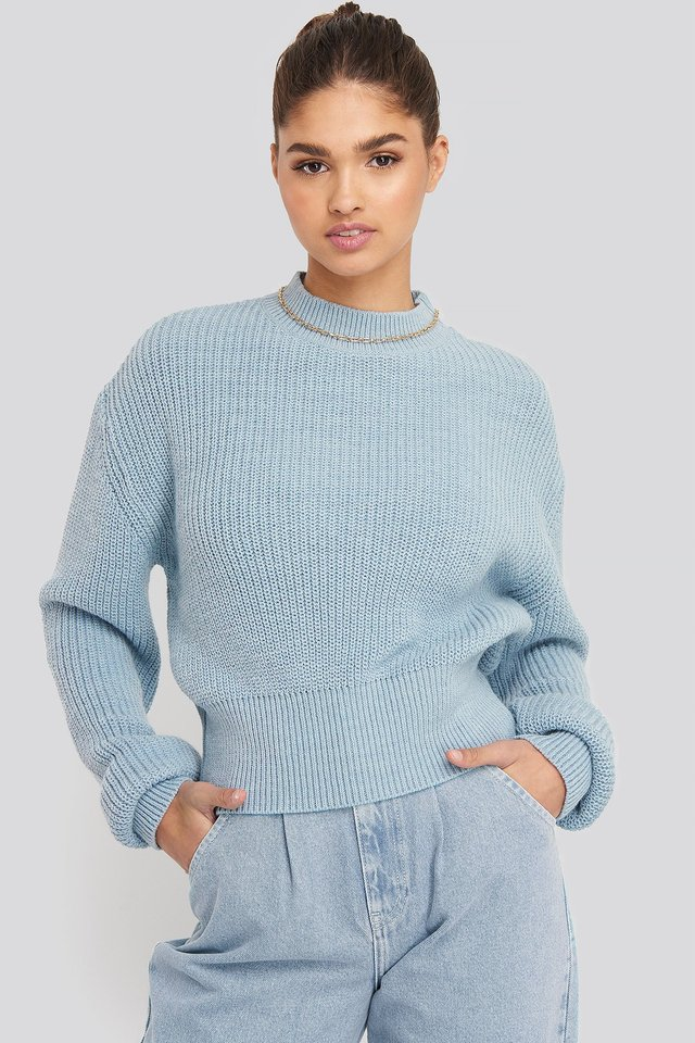Balloon Sleeve Ribbed Sweater Blue