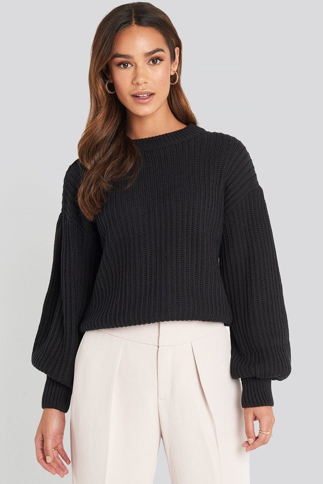 Balloon Sleeve Round Neck Sweater Black