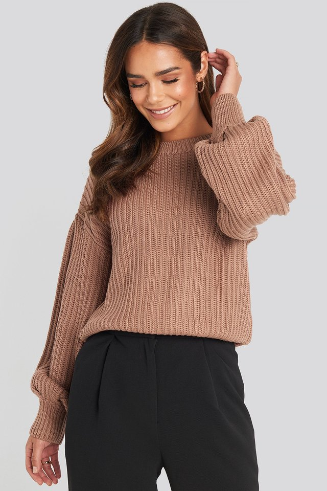 Balloon Sleeve Round Neck Sweater Dusty Dark Pink