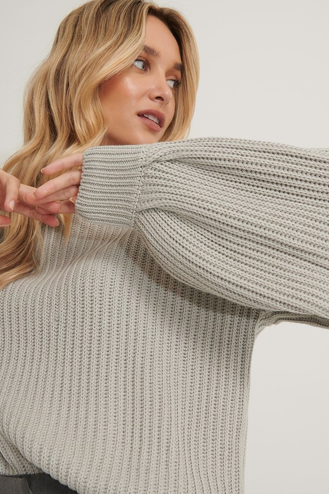 Organic Balloon Sleeve Round Neck Sweater Grey