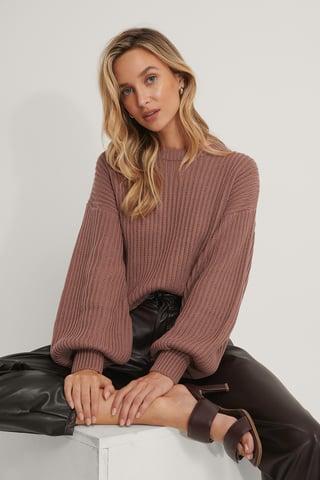 Dusty Dark Pink Balloon Sleeve Round Neck Sweater