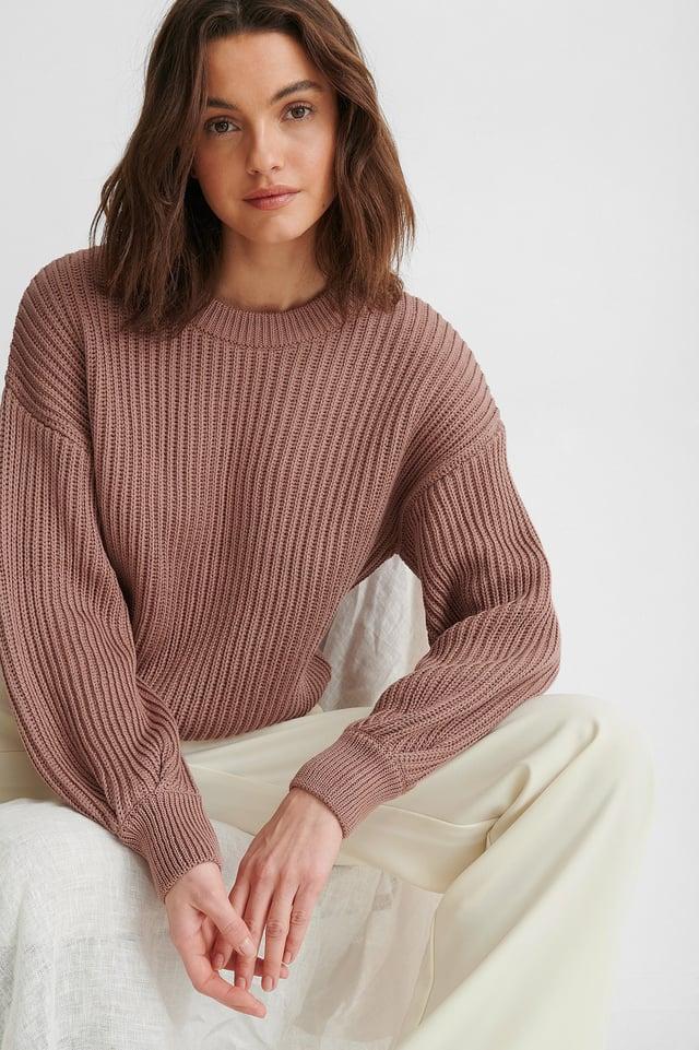 Sweter Z Dzianiny Z Okrągłym Dekoltem I Bufiastymi Rękawami Dusty Dark Pink