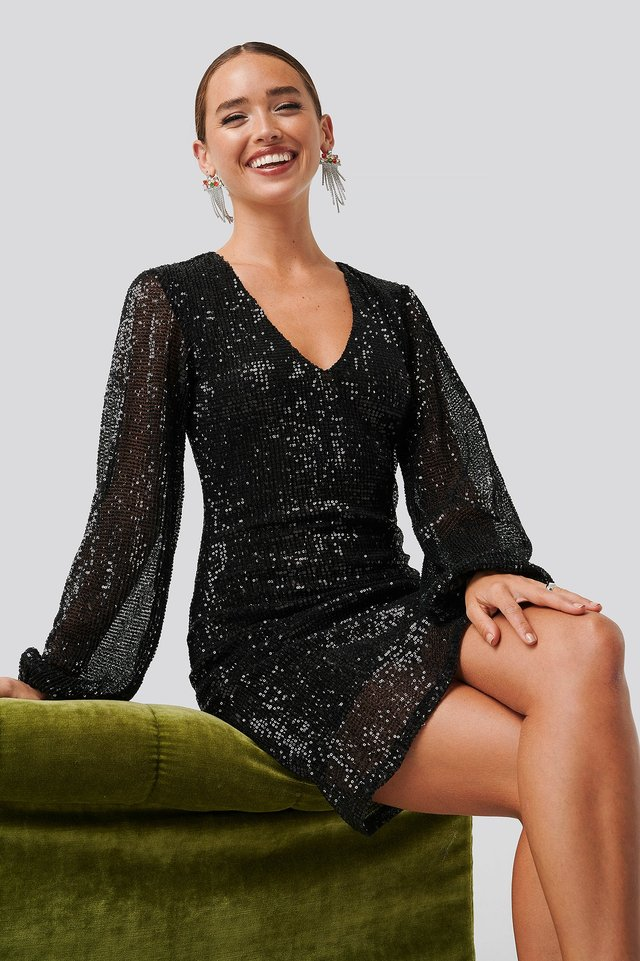 Balloon Sleeve Sequin Mini Dress Black