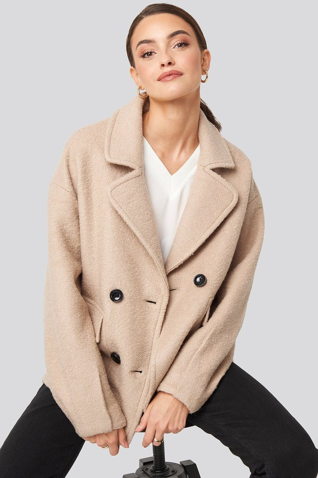 Balloon Sleeve Short Coat Light Beige