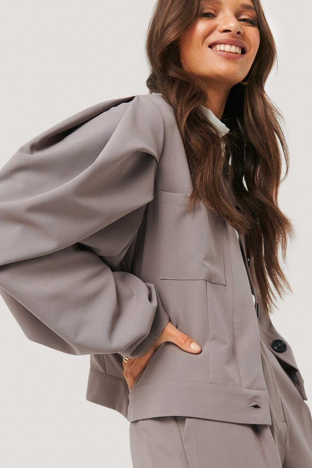 Balloon Sleeve Short Jacket Dusty Plum
