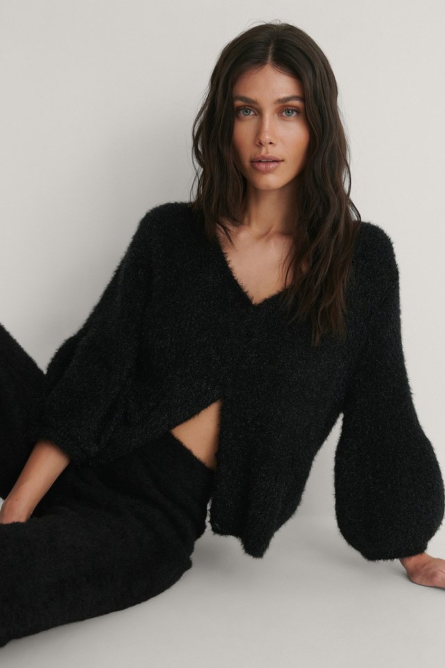 Black Balloon Sleeve Short Knitted Cardigan