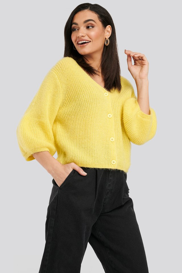 Balloon Sleeve Short Knitted Cardigan Dusty Yellow