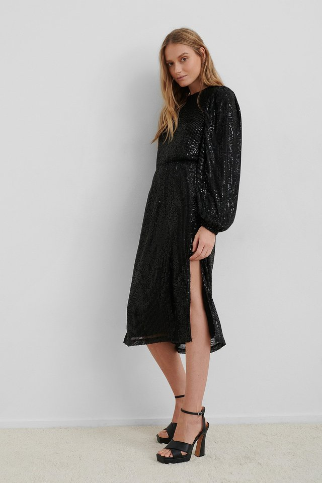 Black Balloon Sleeve Slit Sequin Dress