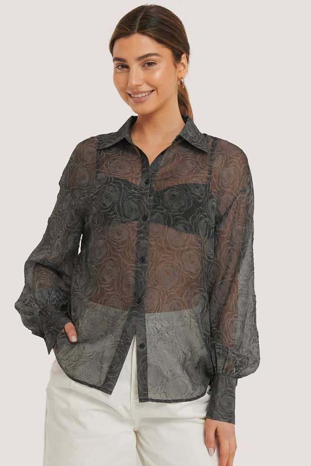 Black Balloon Sleeve Structured Rose Blouse