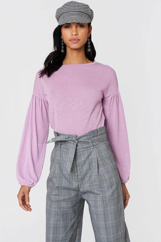 Balloon Sleeve Sweater Light Purple