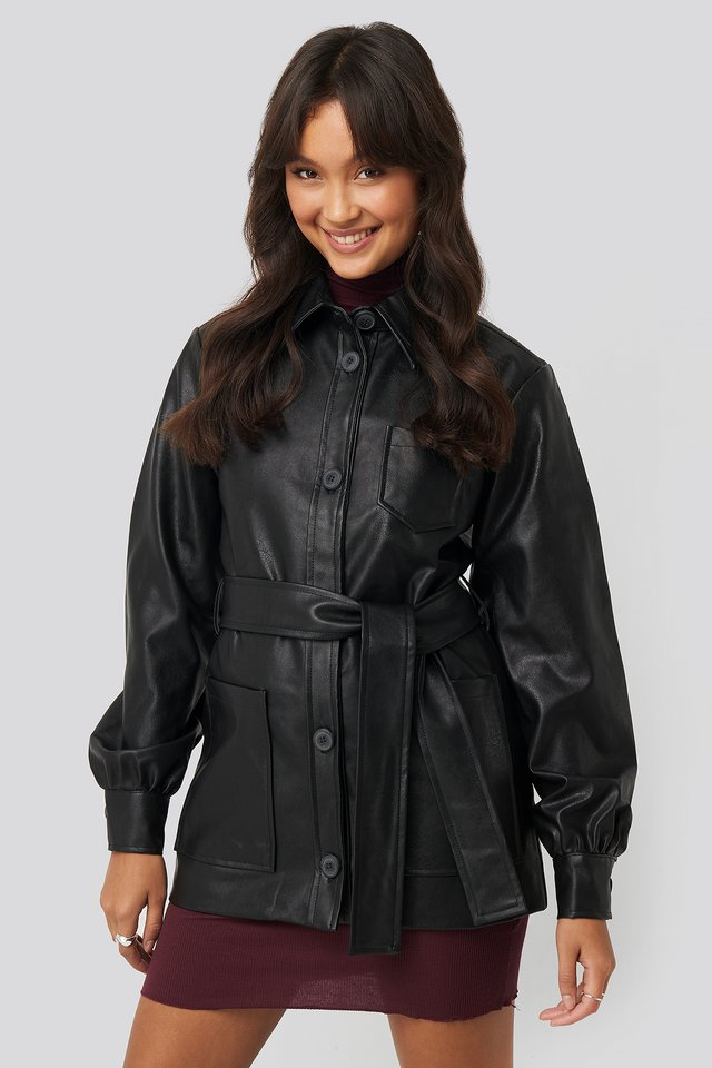 Balloon Sleeve Tied Waist Pu Jacket Black