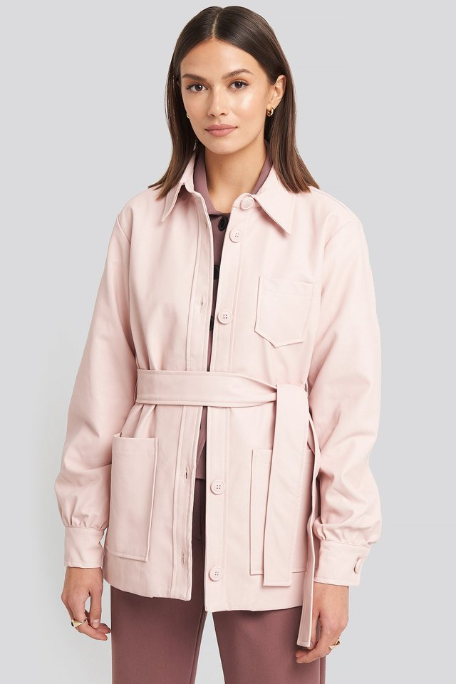 Balloon Sleeve Tied Waist Pu Jacket Dusty Pink
