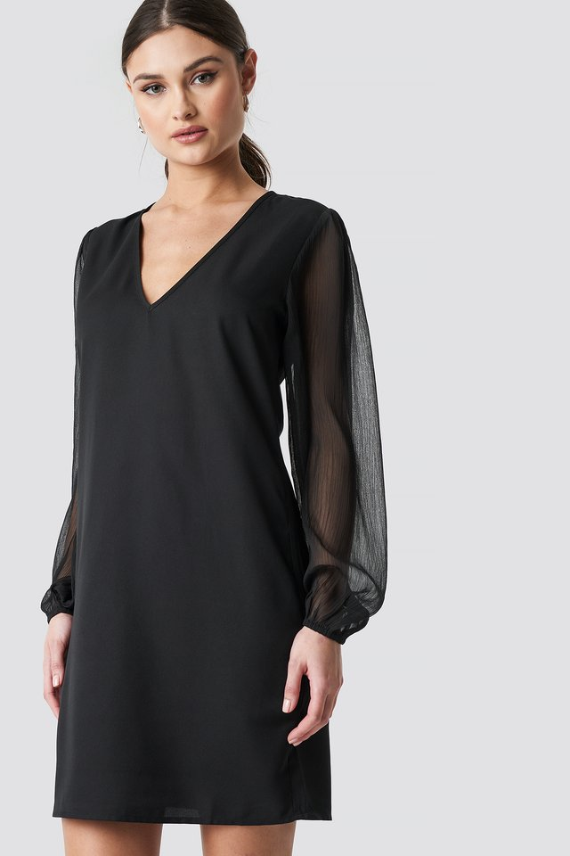 Balloon Sleeve V-Neck Mini Dress Black