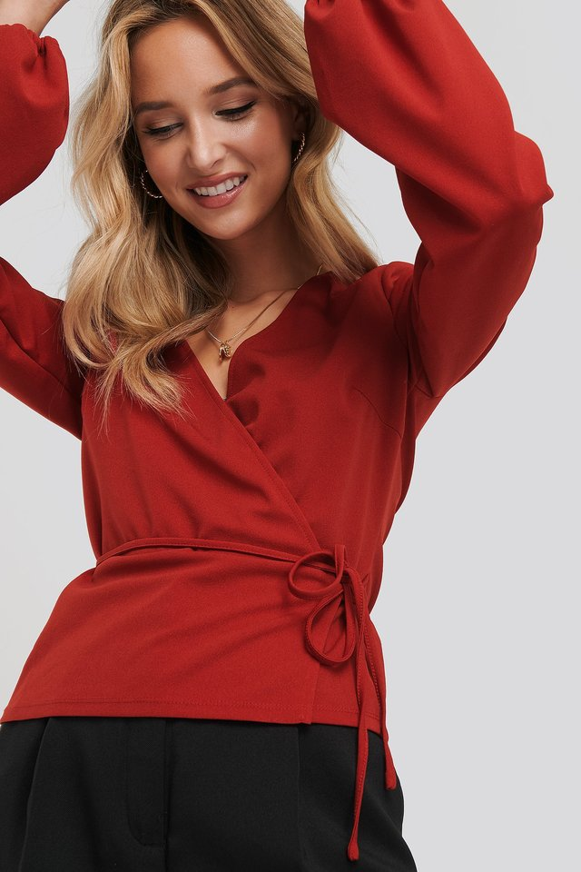 Balloon Sleeve Wrap Over Top Red