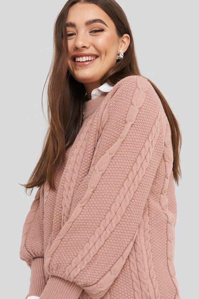 Balloon Sleeve Cable Knitted Sweater Dusty Pink