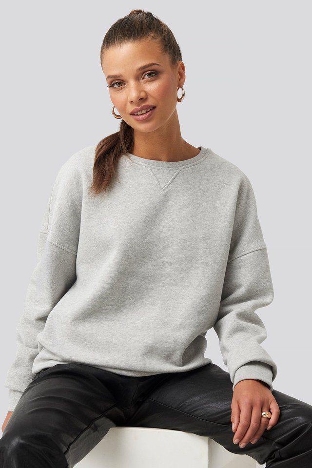 Long Sleeve Crew Neck Sweatshirt Grey Marl
