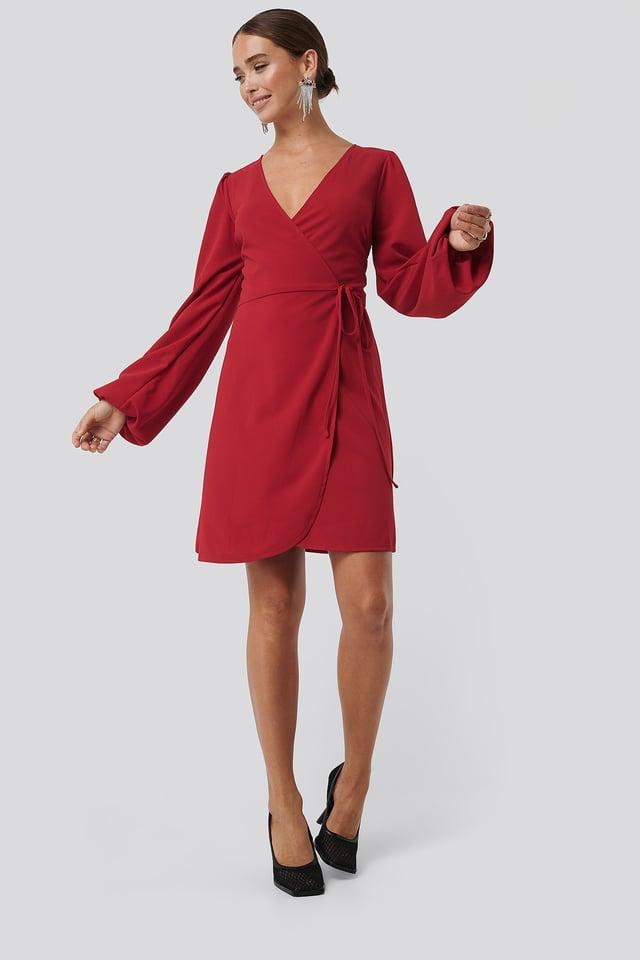 Overlap Balloon Sleeve Dress Red