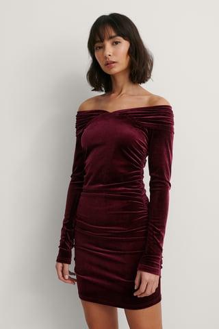 Bordeaux Bare Shoulder Velvet Dress