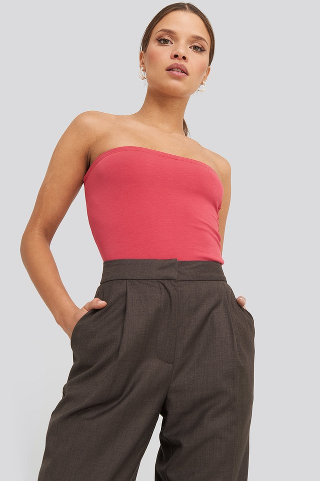 Basic Bandeau Top Washed Red