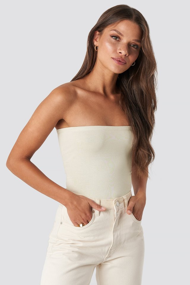 Basic Bandeau Top Dusty Light Beige