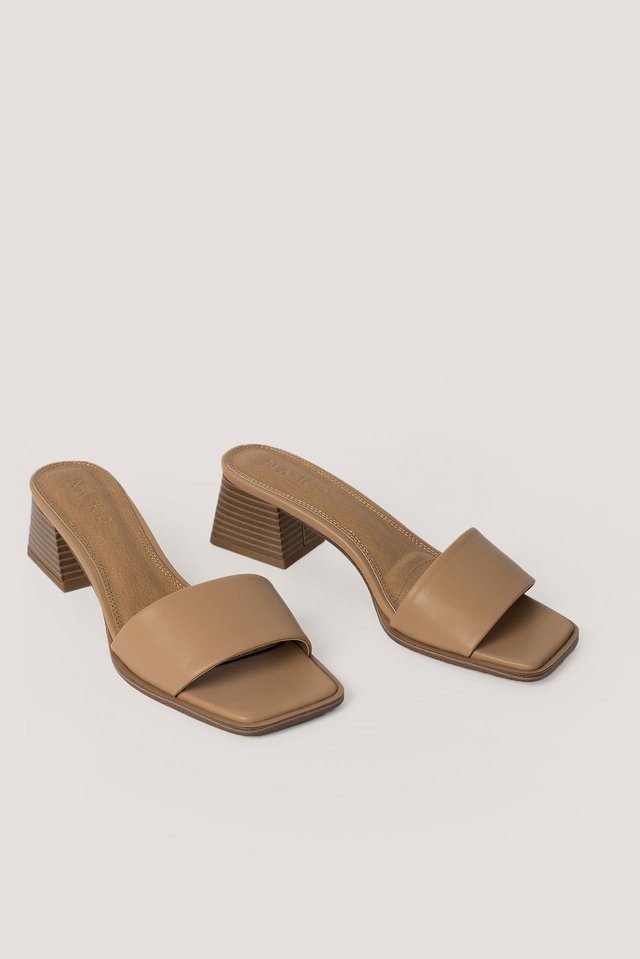 Basic Block Heeled Mules Beige