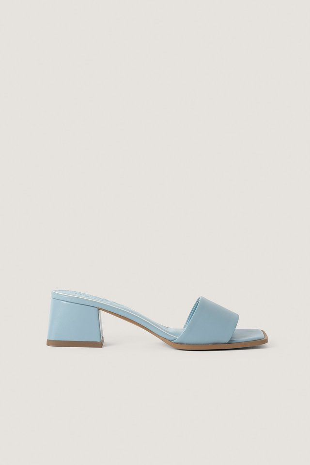 Dusty Blue Basic Block Heeled Mules