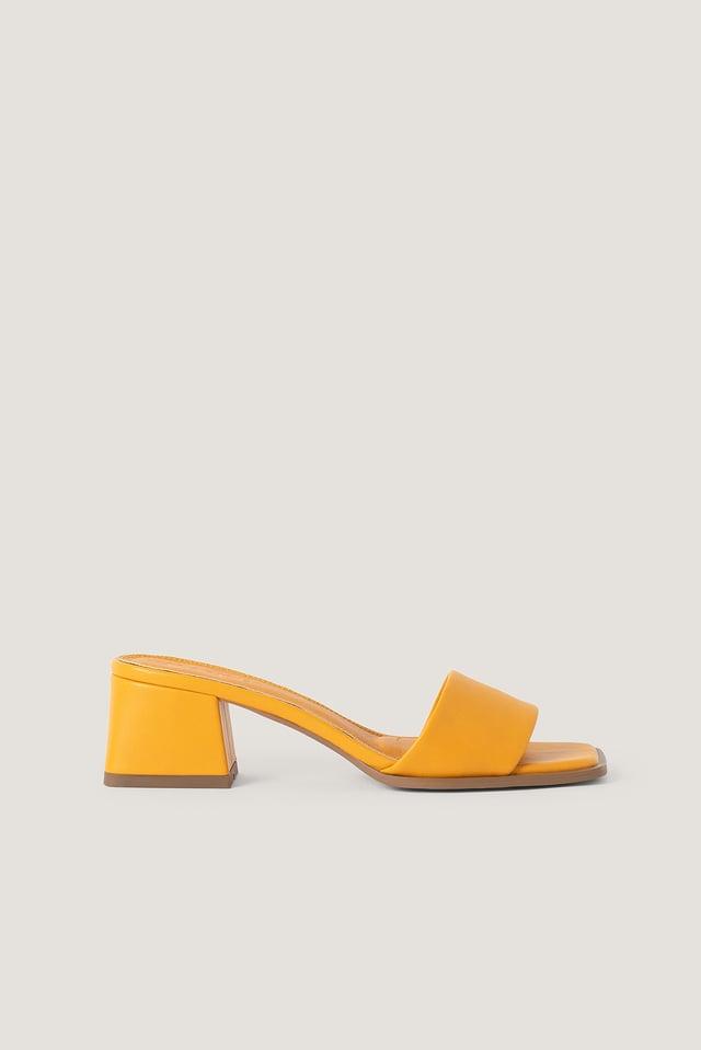 Light Orange Basic Block Heeled Mules
