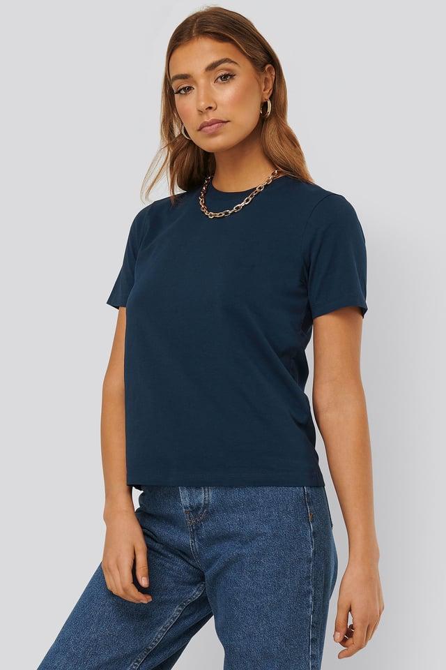 Dark Navy Basic Cotton Roundneck T-shirt