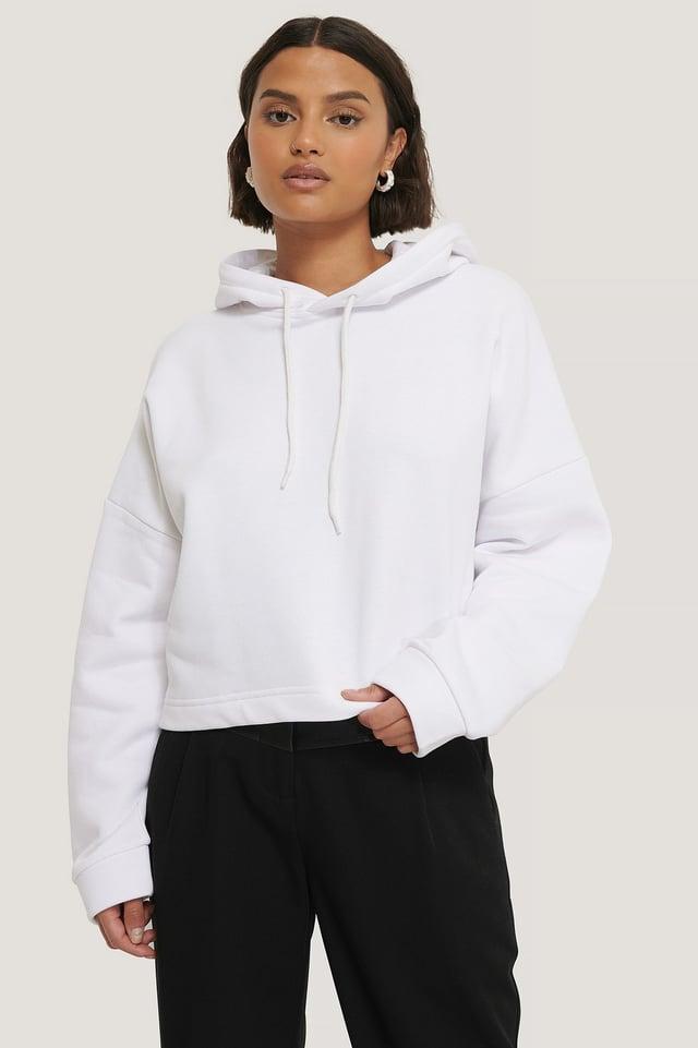 White Organic Basic Cropped Hoodie