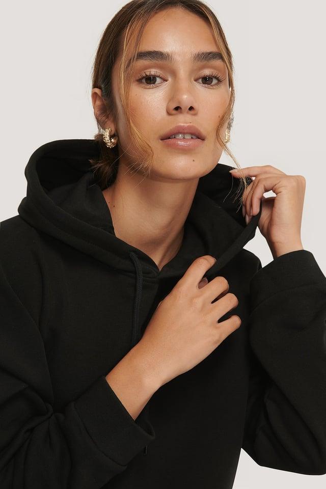 Black Organic Basic Cropped Hoodie