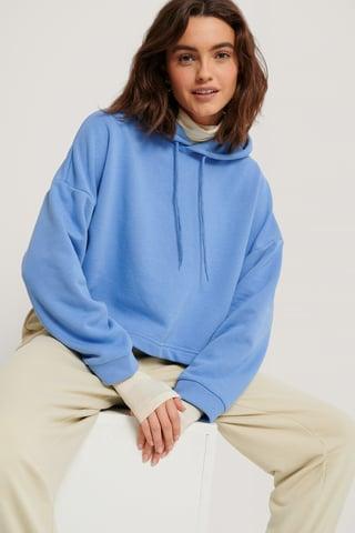 Blue Organic Basic Cropped Hoodie