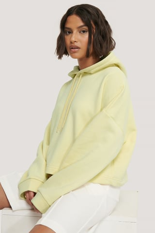 Light Yellow Organic Basic Cropped Hoodie