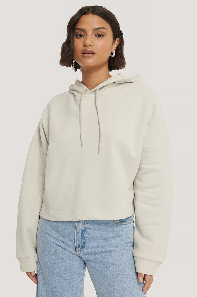 Basic Cropped Hoodie Dusty Light Beige