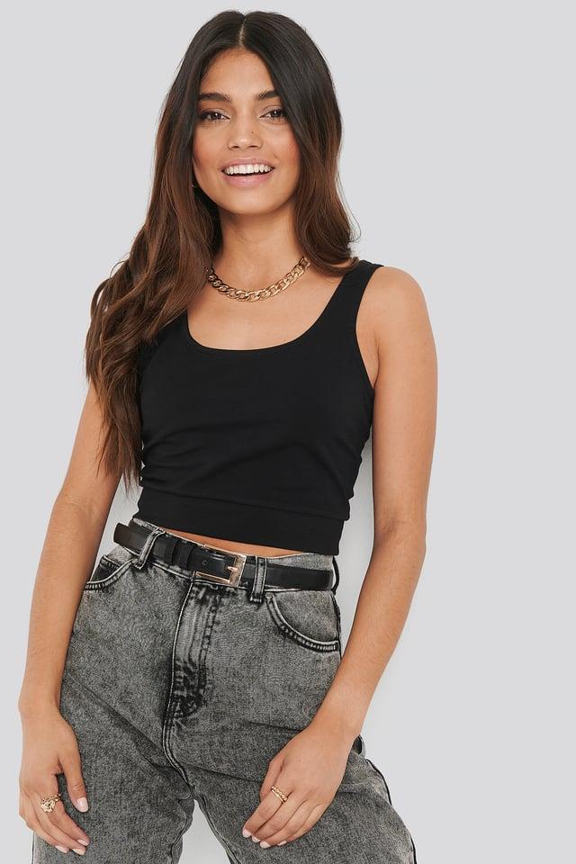 Black Camiseta De Tirantes Básica Corta