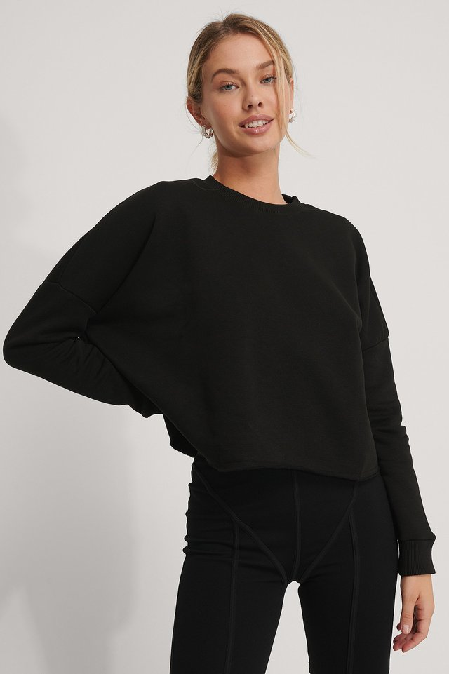 Organic Basic Cropped Sweater Black