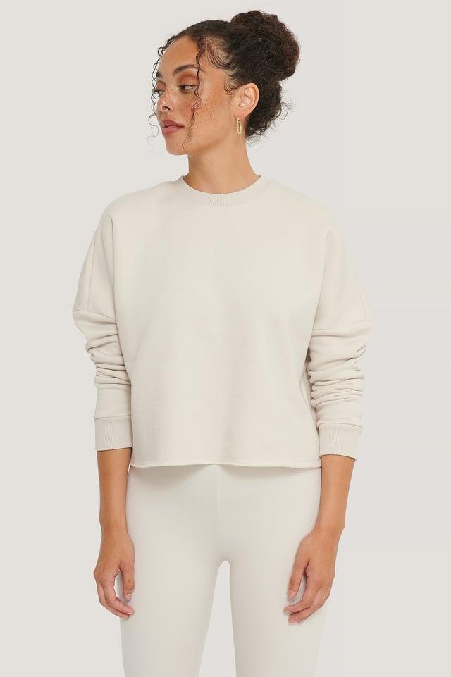 Dusty Light Beige Organic Basic Cropped Sweater