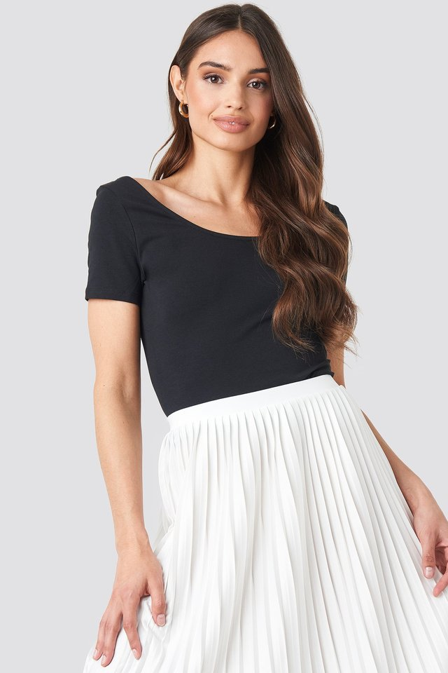 Basic Fitted Short Sleeve Top Black