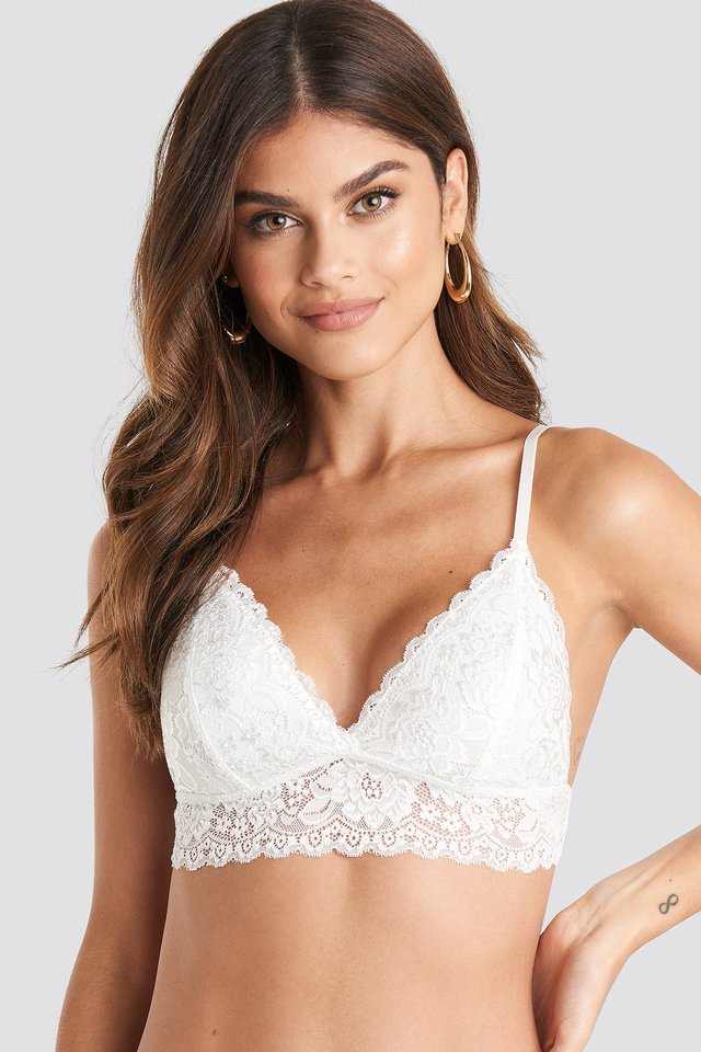 White Basic Floral Lace Bra