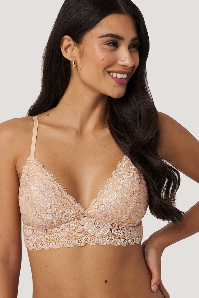 Basic Floral Lace Bra Buff Beige