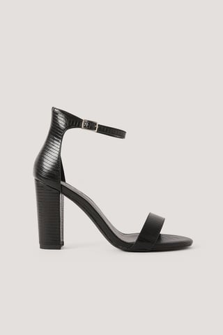 Black Croco Basic High Heel Block Sandals
