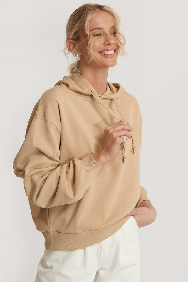 Light Beige Prosta Bluza Z Kapturem