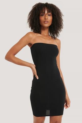 Black Basic Jersey Bandeau Dress