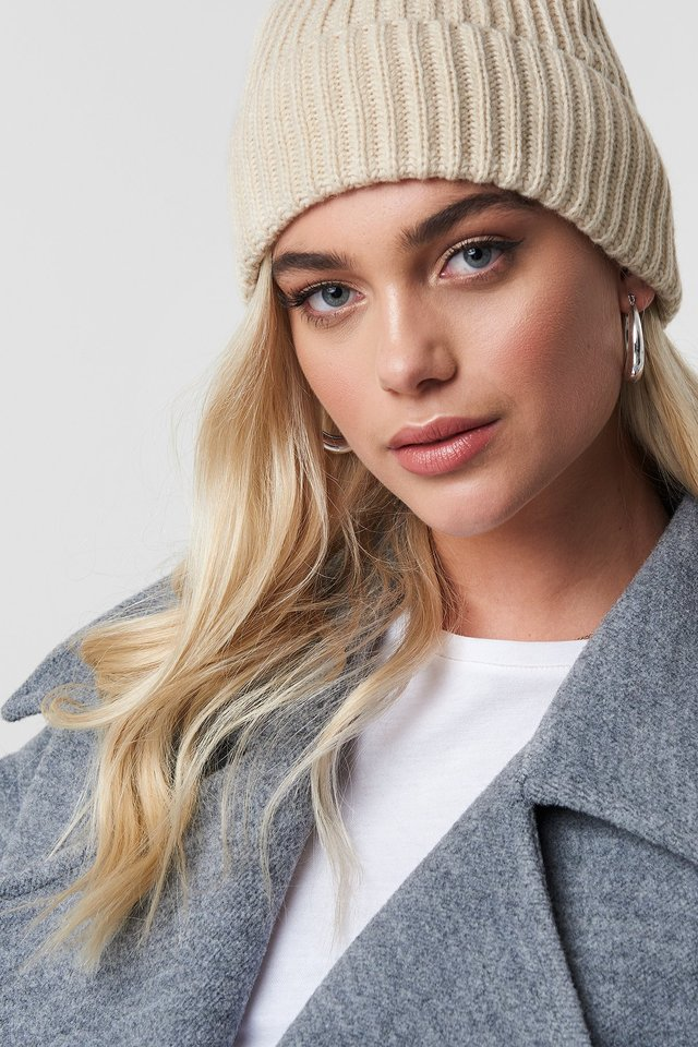 Basic Knitted Beanie Beige