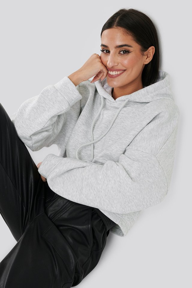 Basic Oversized Cropped Hoodie Light Grey Melange