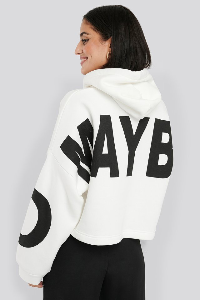 Basic Oversized Cropped Hoodie Printed