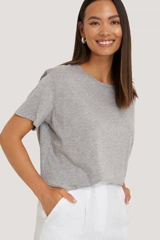 Grey Melange Basic Oversize T-Shirt