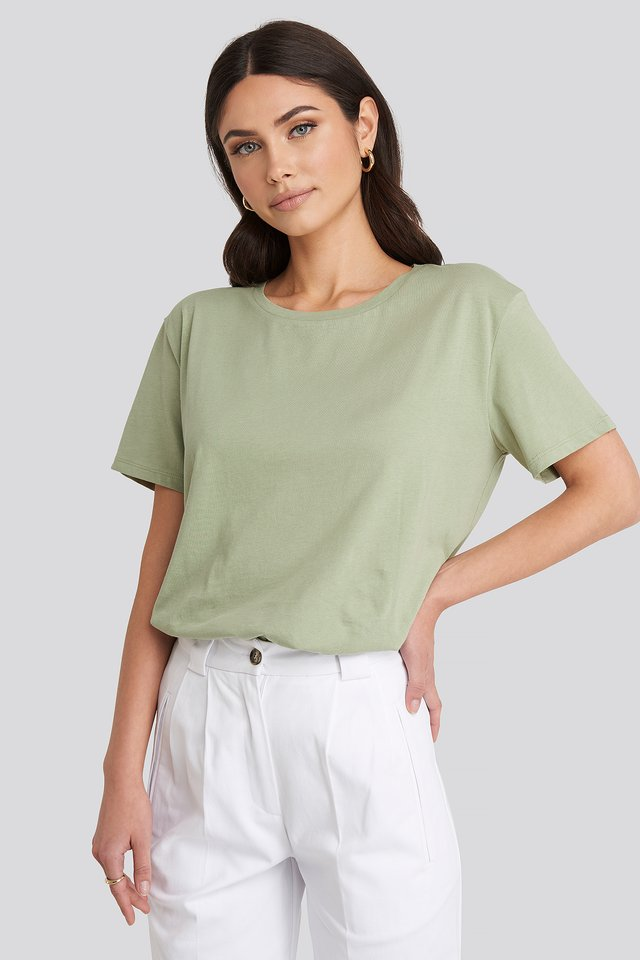 Basic Oversized Tee Light Khaki