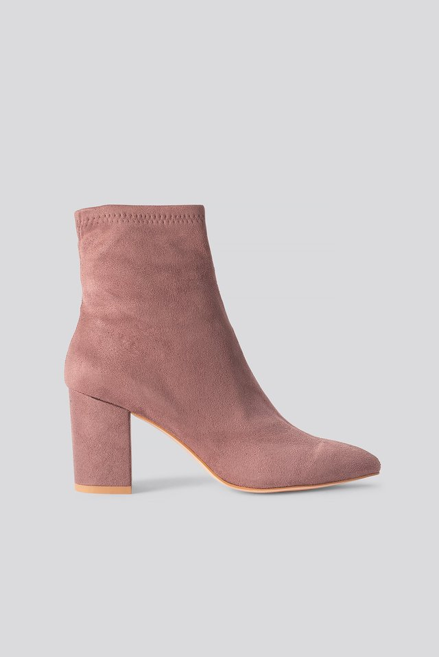 Basic Pointy Block Heel Booties Dusty Pink
