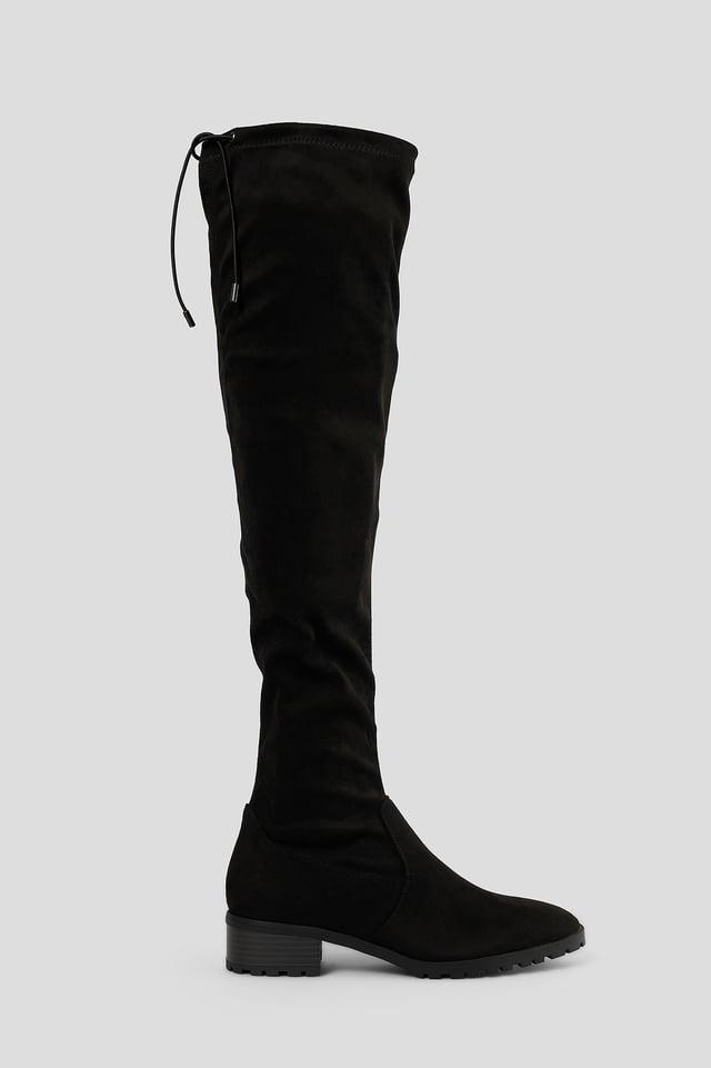 Black Basic Overknees Med Profilsula