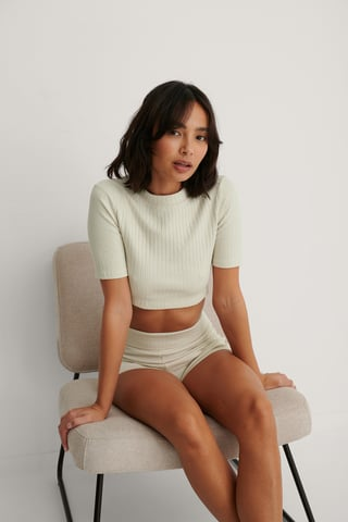 Dusty Light Beige Basic Ribbed Tight Neck Top
